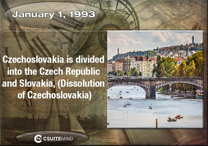 on-january-1-1993-czechoslovakia-is-divided-into-the-czech-republic-and-slovakia-dissolution-of-czechoslovakia