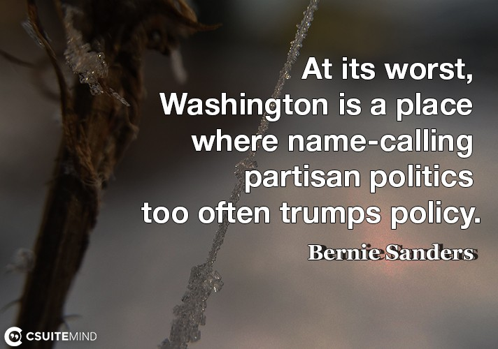At its worst, Washington is a place where name-calling partisan politics too often trumps policy.