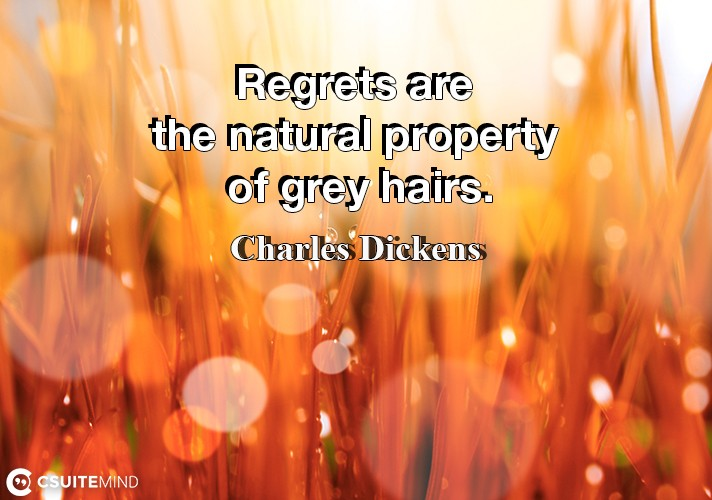 Regrets are the natural property of grey hairs.