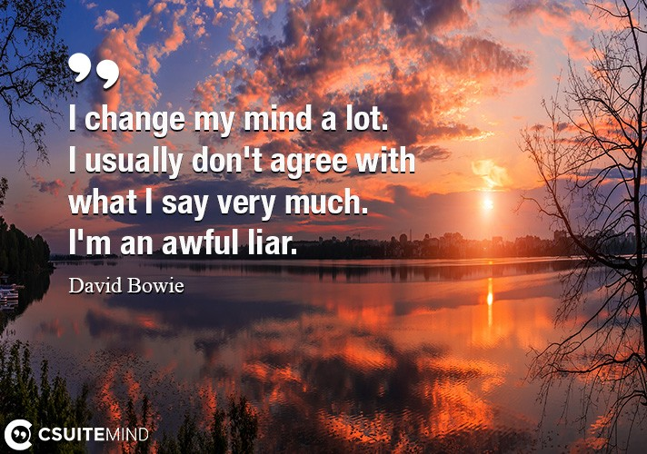 I change my mind a lot. I usually don't agree with what I say very much. I'm an awful liar.