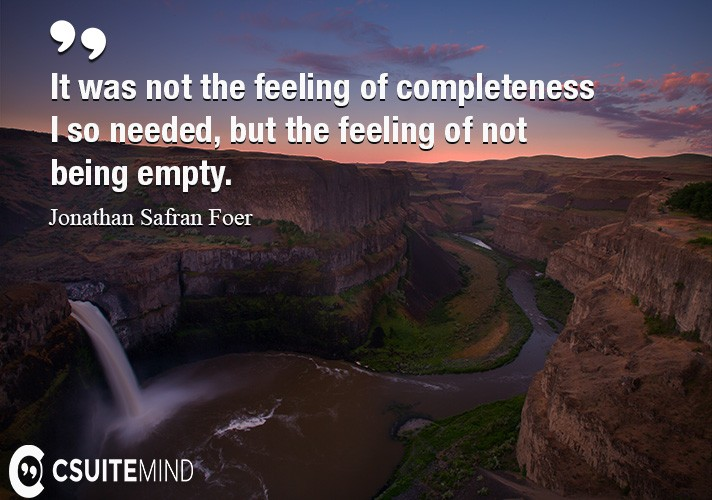 It was not the feeling of completeness I so needed, but the feeling of not being empty.