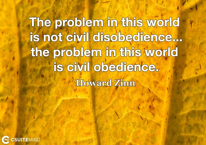 The problem in this world is not civil disobedience...the problem in this world is civil obedience.