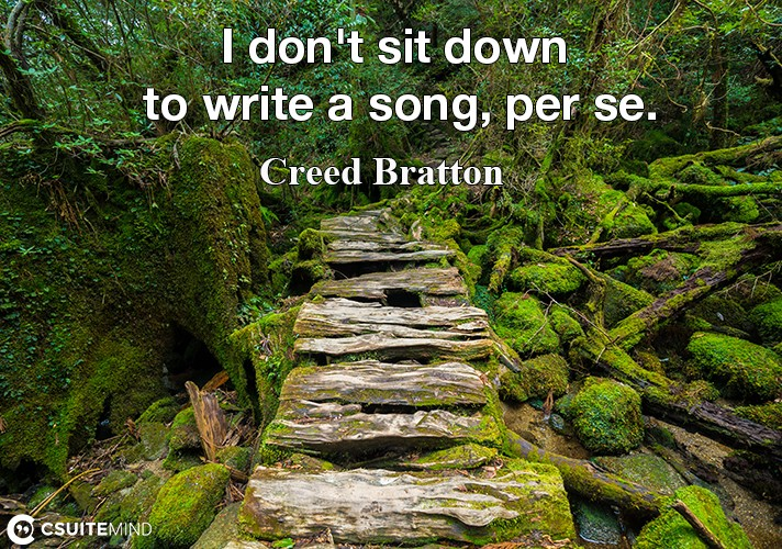 I don't sit down to write a song, per se.