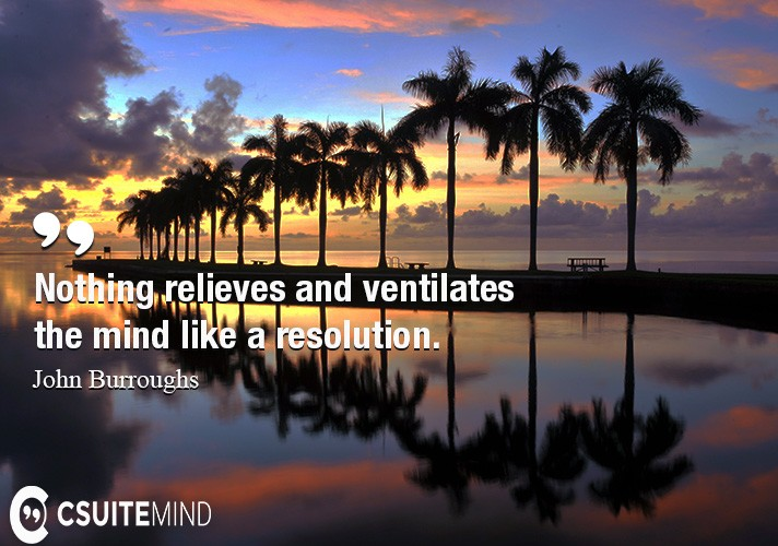 Nothing relieves and ventilates the mind like a resolution.