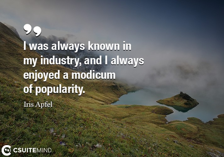 I was always known in my industry, and I always enjoyed a modicum of popularity.