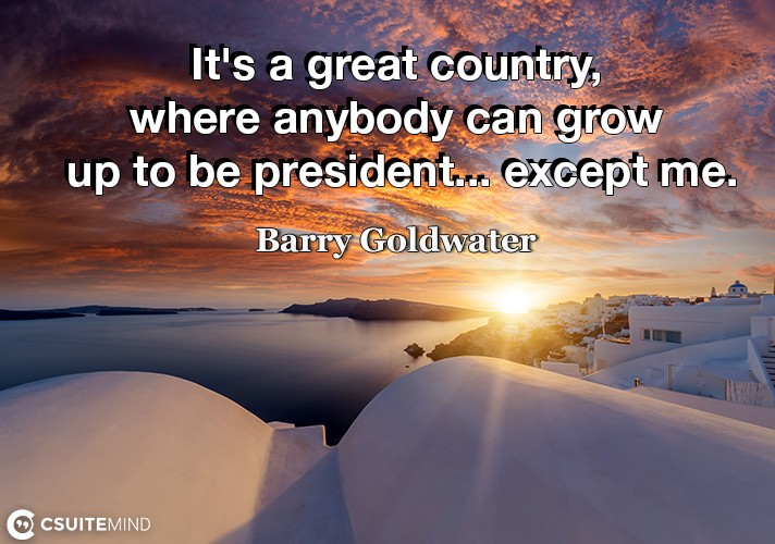 It's a great country, where anybody can grow up to be president... except me.