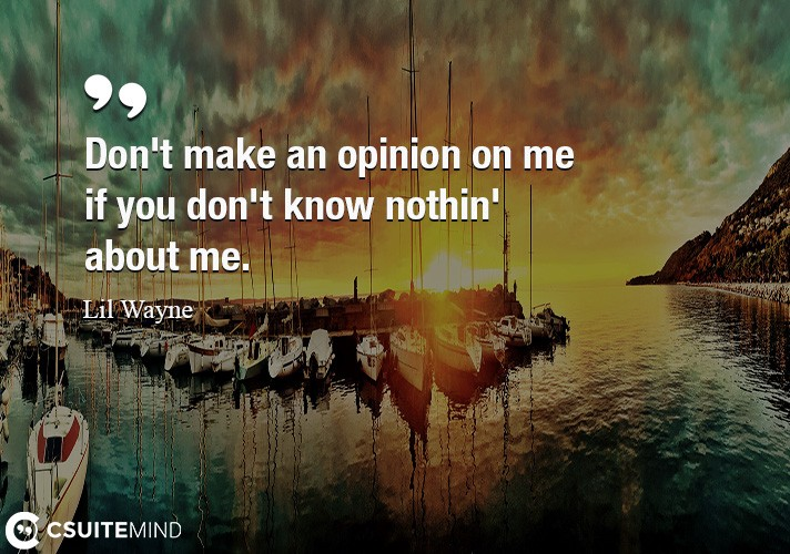 Don't make an opinion on me if you don't know nothin' about me.