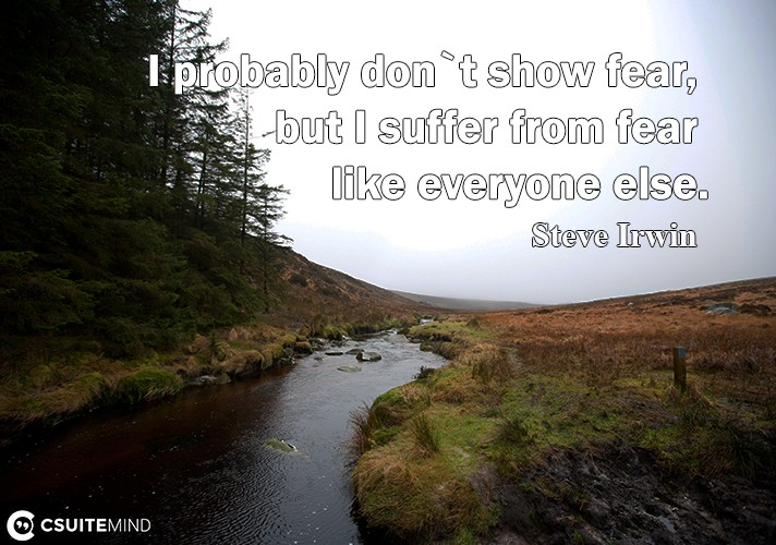 I probably don`t show fear, but I suffer from fear like everyone else.