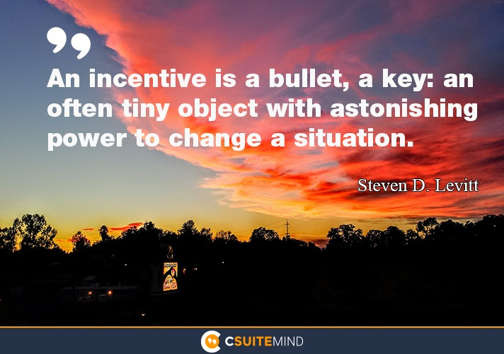 An incentive is a bullet, a key: an often tiny object with astonishing power to change a situation