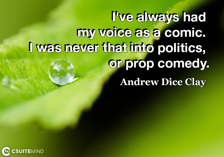 I've always had my voice as a comic. I was never that into politics, or prop comedy.