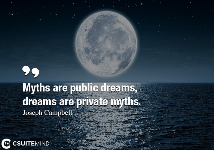 Myths are public dreams, dreams are private myths.