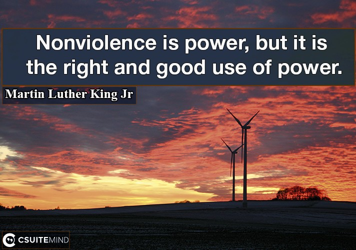 Nonviolence is power, but it is the right and good use of power.