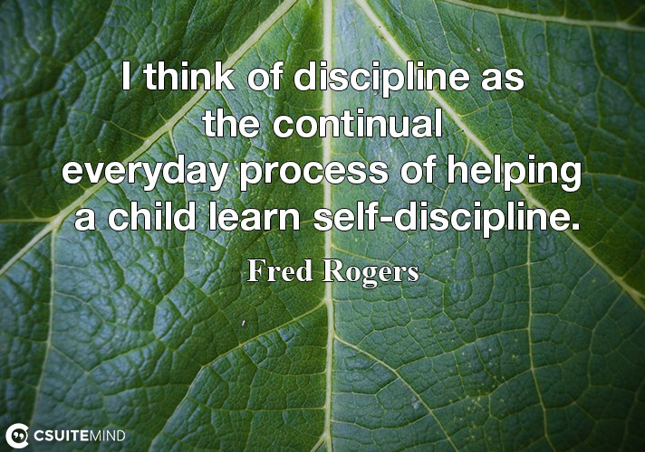 I think of discipline as the continual everyday process of helping a child learn self-discipline.