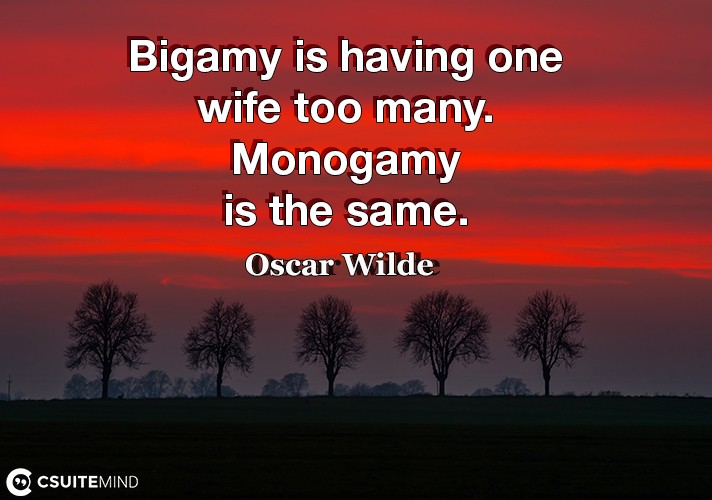 Bigamy is having one wife too many. Monogamy is the same.