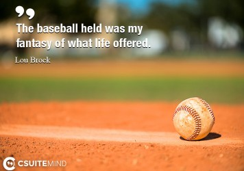 The baseball held was my fantasy of what life offered.