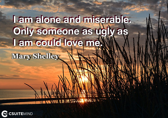 I am alone and miserable. Only someone as ugly as I am could love me.
