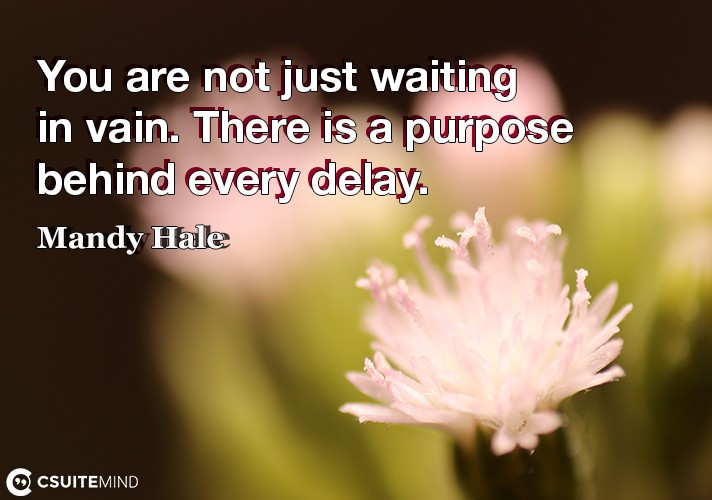 You are not just waiting in vain. There is a purpose behind every delay.