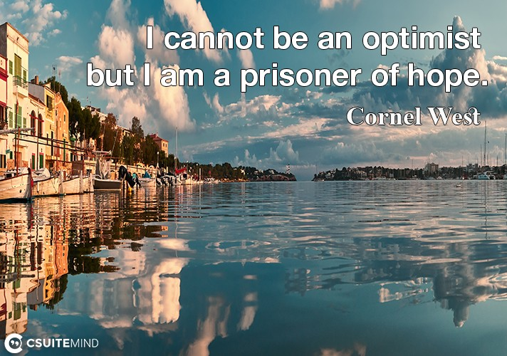 I cannot be an optimist but I am a prisoner of hope.
