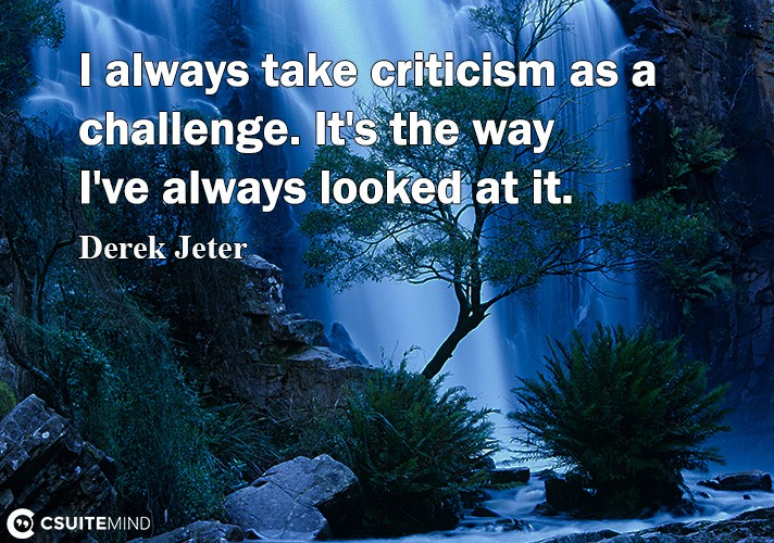 I always take criticism as a challenge. It's the way I've always looked at it.