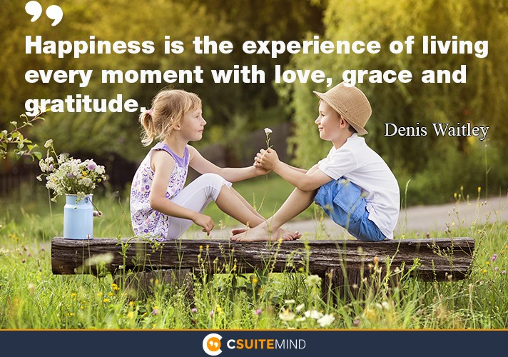 Happiness is the experience of living every moment with love, grace and gratitude.