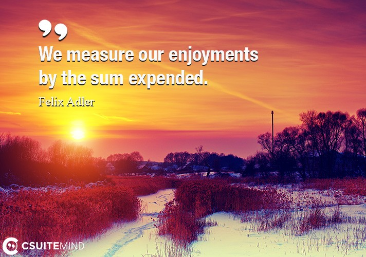We measure our enjoyments by the sum expended.