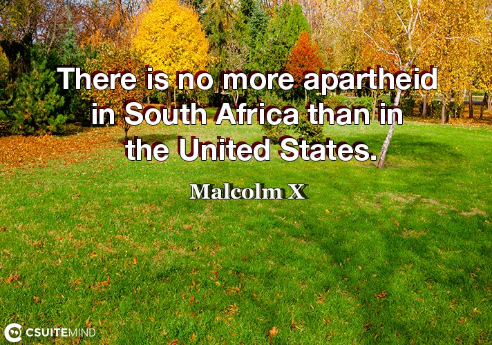 There is no more apartheid in South Africa than in the United States.