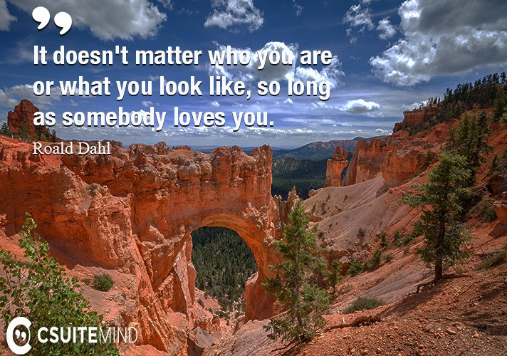 It doesn't matter who you are or what you look like, so long as somebody loves you.