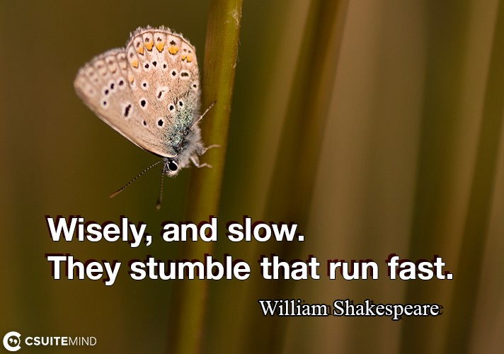 Wisely, and slow. They stumble that run fast.