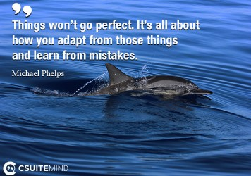 Things won't go perfect. It's all about how you adapt from those things and learn from mistakes.