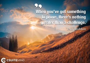 When you've got something to prove, there's nothing greater than a challenge.