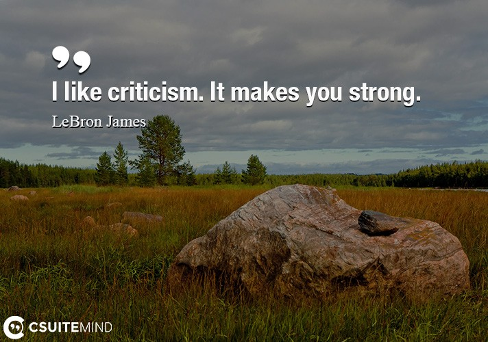 I like criticism. It makes you strong.