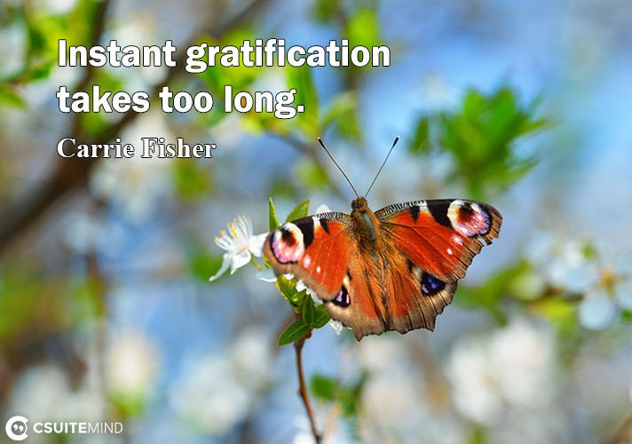 Instant gratification takes too long.