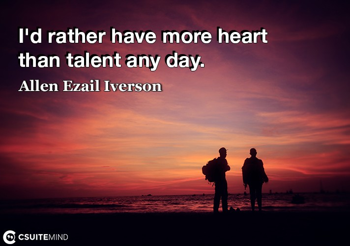I'd rather have more heart than talent any day.