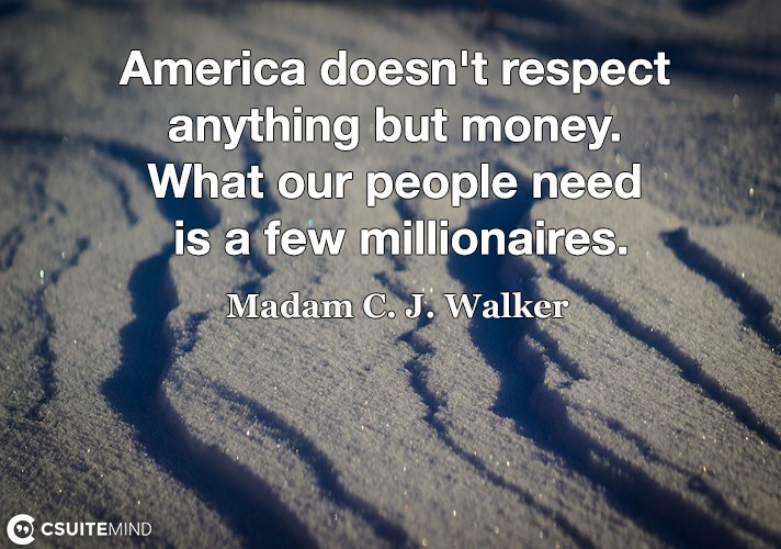 America doesn't respect anything but money. What our people need is a few millionaires.