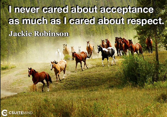 I never cared about acceptance as much as I cared about respect.