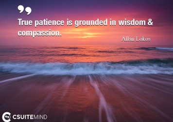 True patience is grounded in wisdom & compassion.