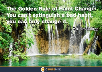 The Golden Rule of Habit Change: You can't extinguish a bad habit, you can only change it.