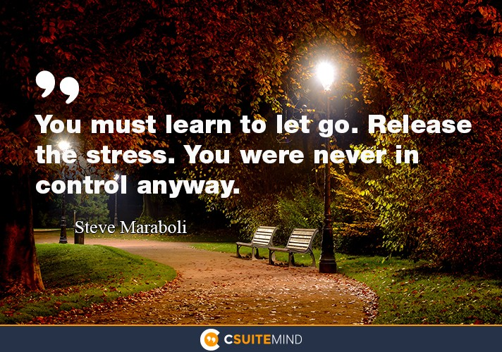 You must learn to let go. Release the stress. You were never in control anyway.