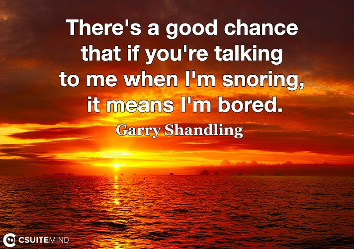 There's a good chance that if you're talking to me when I'm snoring, it means I'm bored.