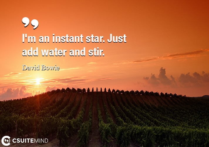 I'm an instant star. Just add water and stir.