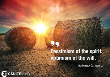 Pessimism of the spirit; optimism of the will