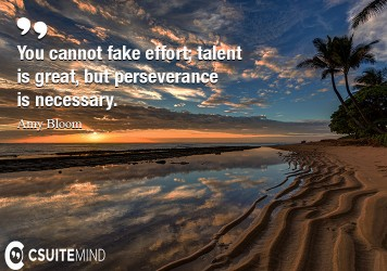 You cannot fake effort; talent is great, but perseverance is necessary.
