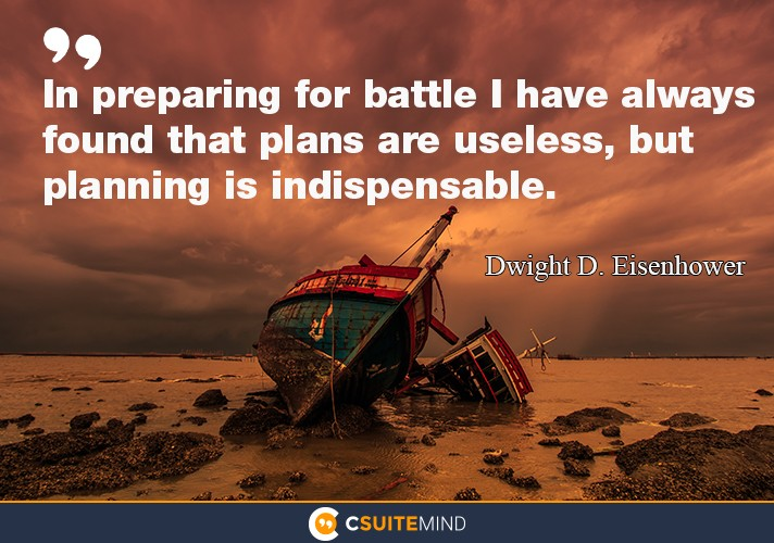 In preparing for battle I have always found that plans are useless, but planning is indispensable