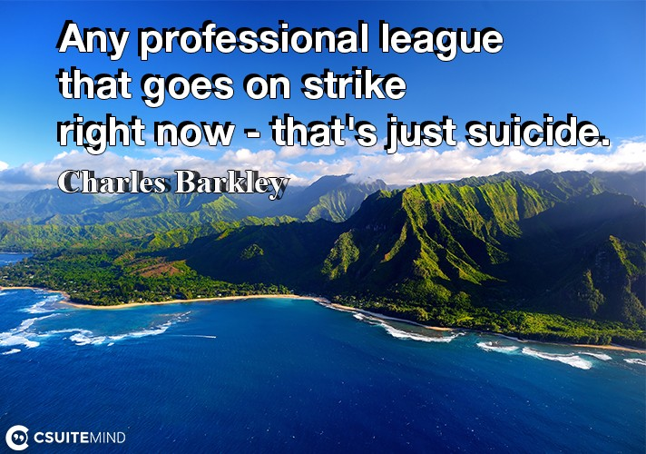Any professional league that goes on strike right now - that's just suicide.