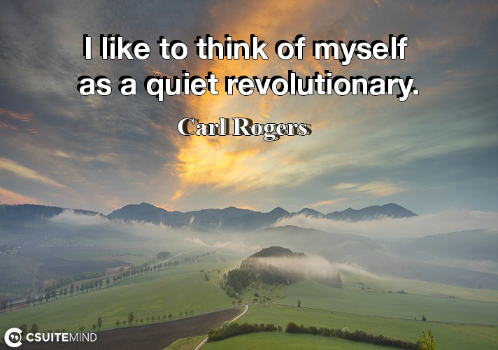 I like to think of myself as a quiet revolutionary.