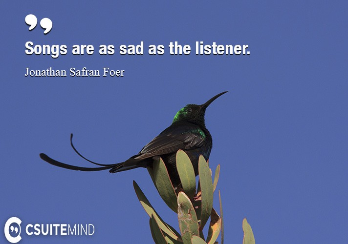 Songs are as sad as the listener.