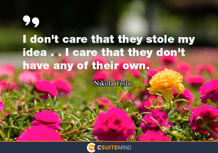 I don't care that they stole my idea . . I care that they don't have any of their own