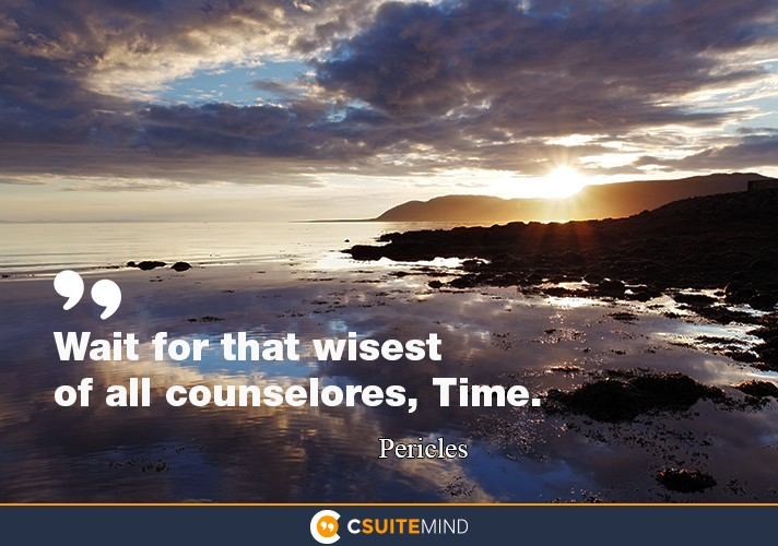 Wait for that wisest of all counselores, Time.