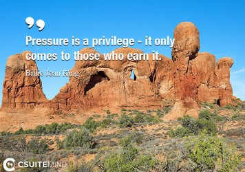 Pressure is a privilege - it only comes to those who earn it.