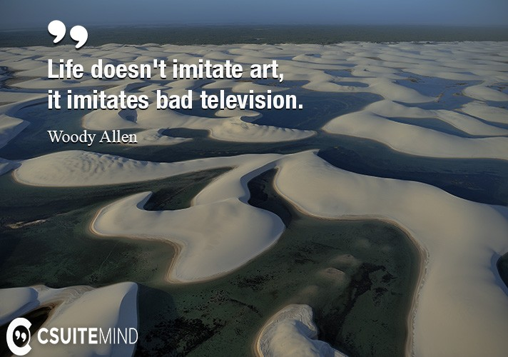 Life doesn't imitate art, it imitates bad television.